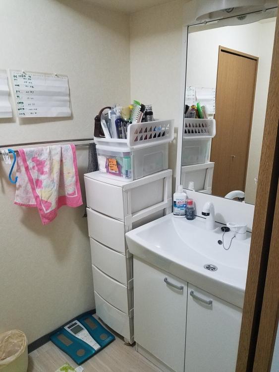 洗面台は引き出しに交換し、収納力も抜群に拡大。