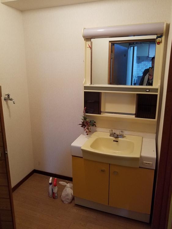 洗面台と洗濯機の位置を変更して問題解決