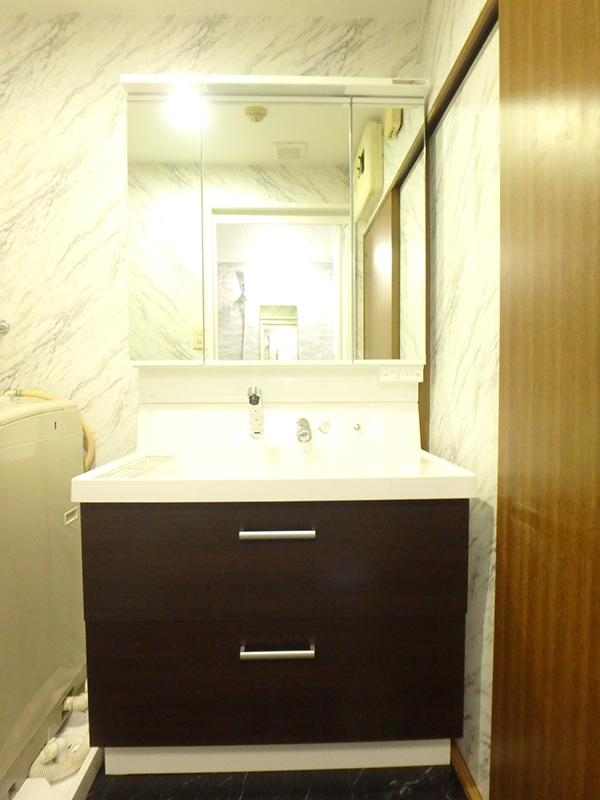 【洗面台】幅90cmでゆったりと使えますね。