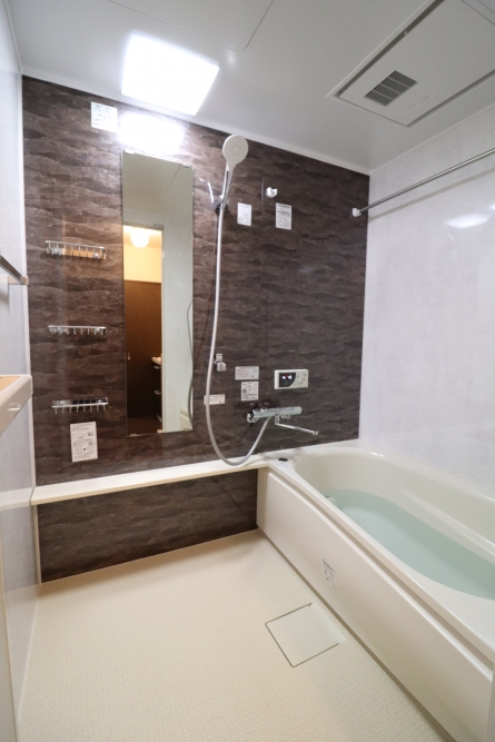 正面のブラウン色の上品な浴室