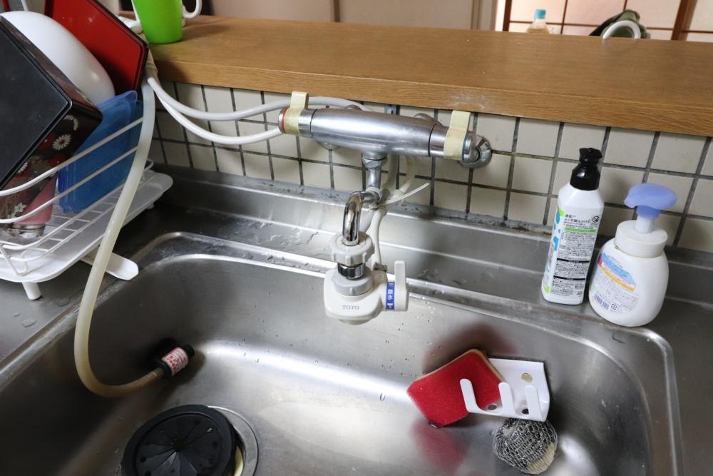 台所水栓も取替